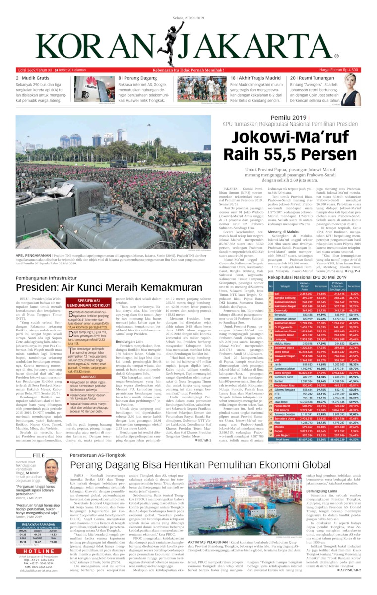 Koran Jakarta Digital Newspaper 21 May 2019
