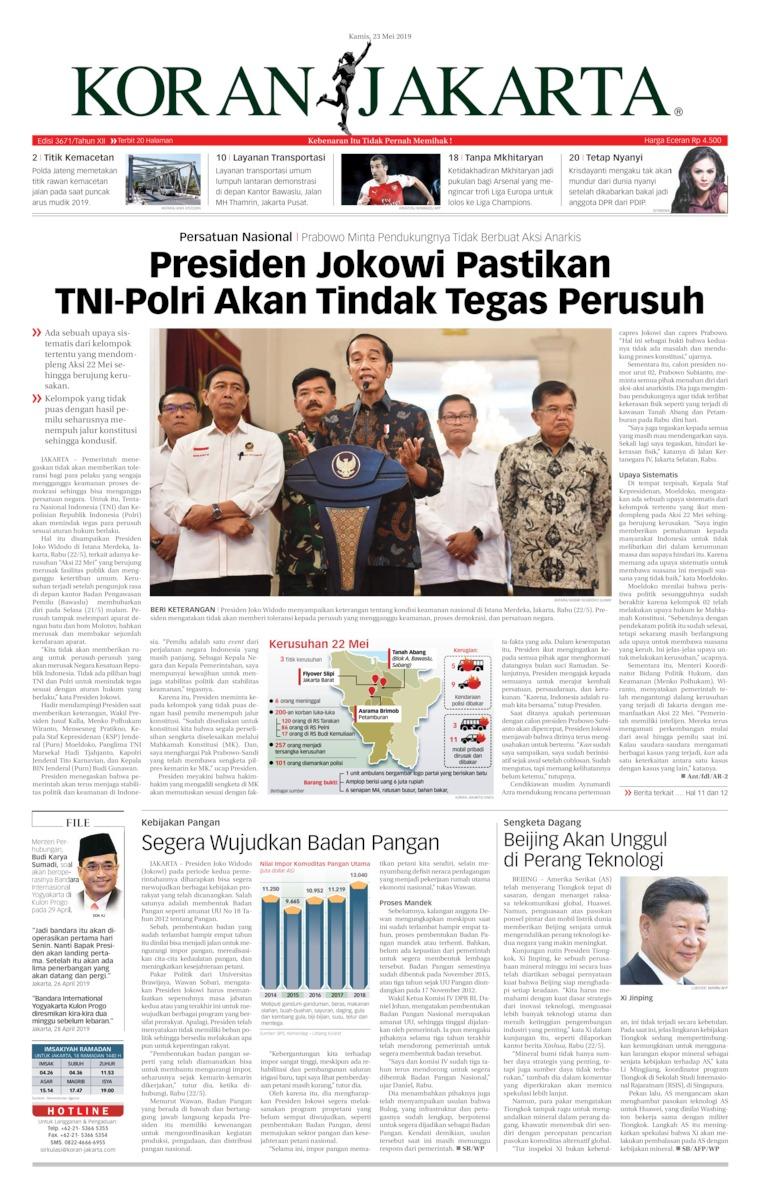 Koran Jakarta Digital Newspaper 23 May 2019