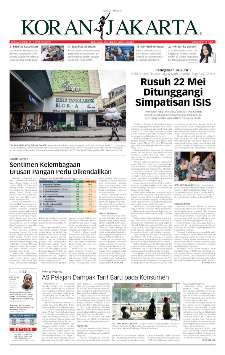 Koran Jakarta Digital Newspaper 24 May 2019