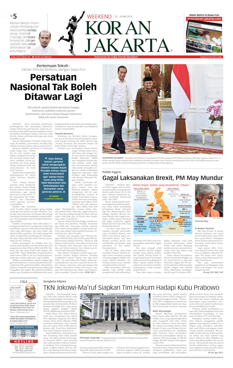 Koran Jakarta Digital Newspaper 25 May 2019
