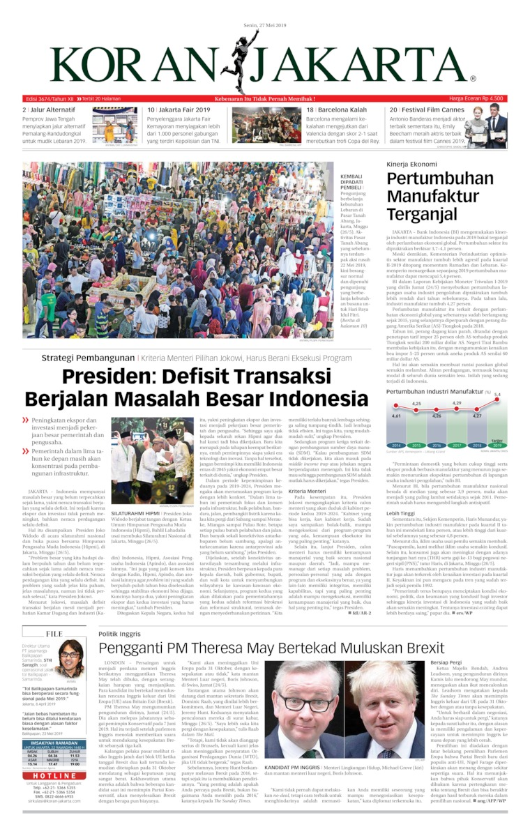 Koran Jakarta Digital Newspaper 27 May 2019