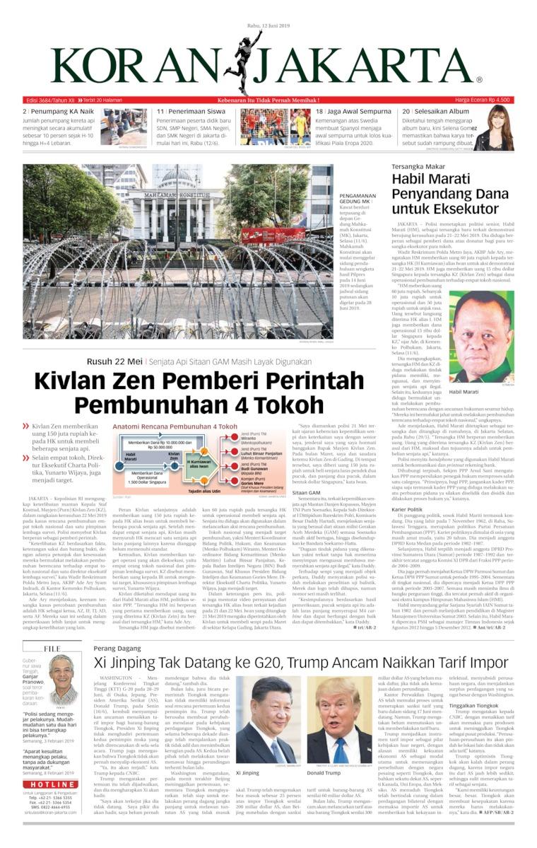 Koran Jakarta Digital Newspaper 12 June 2019