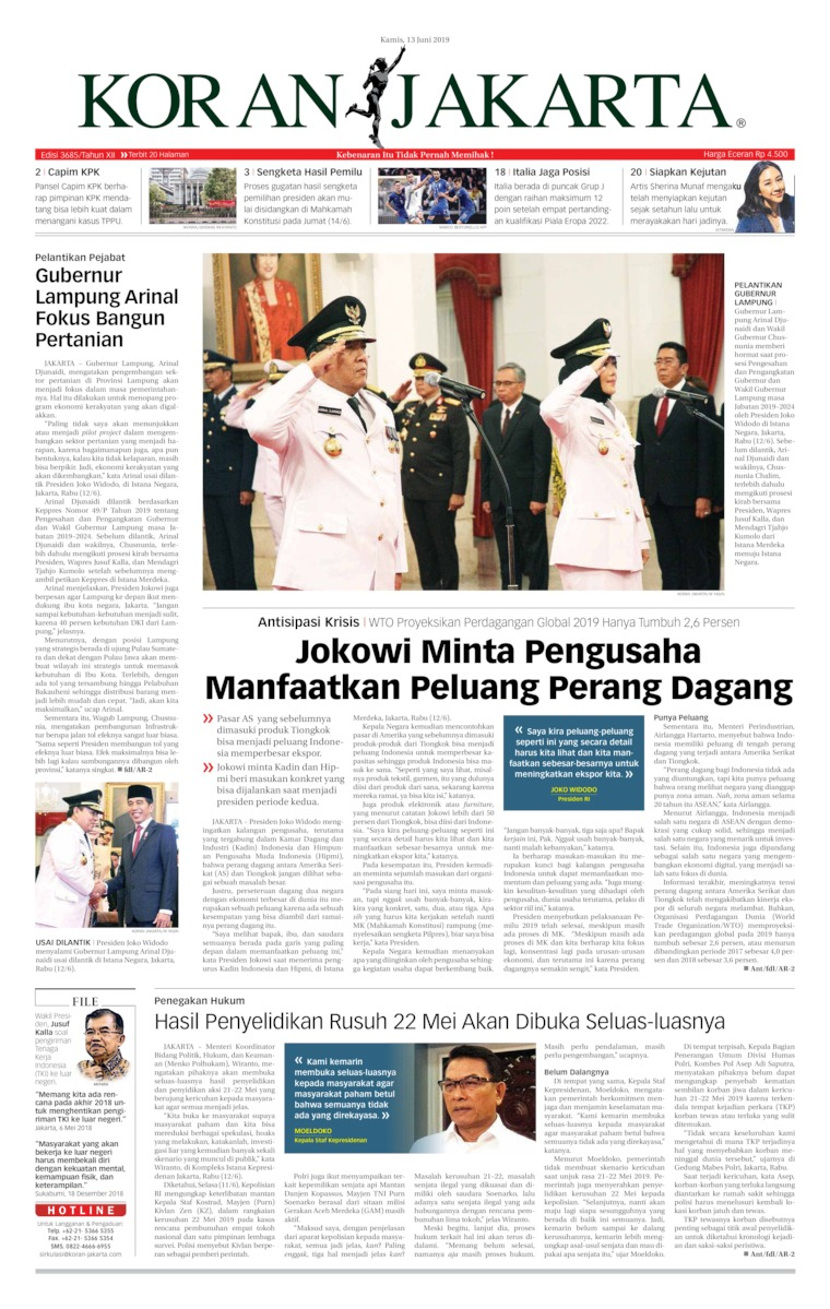 Koran Jakarta Digital Newspaper 13 June 2019