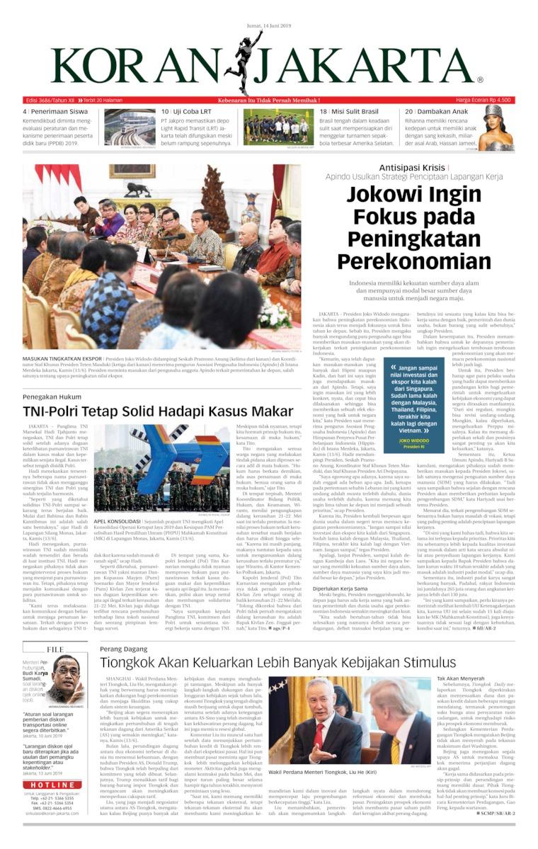 Koran Jakarta Digital Newspaper 14 June 2019