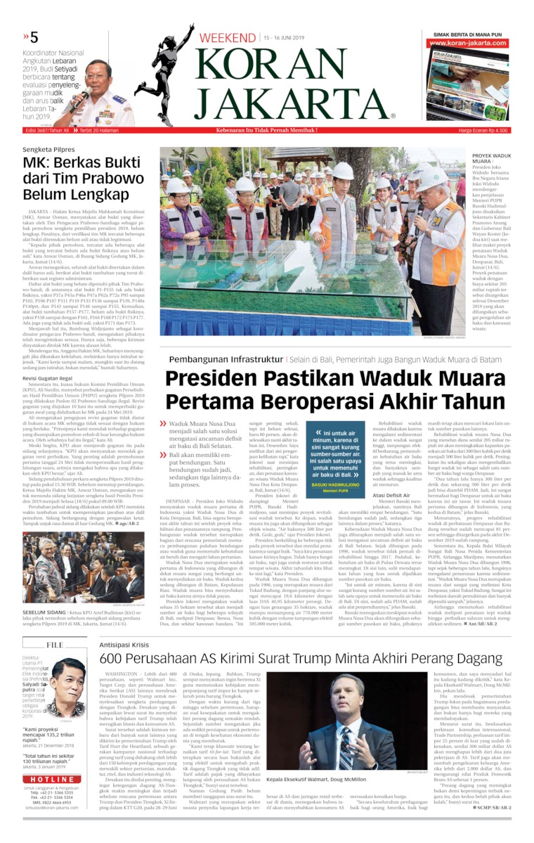 Koran Jakarta Digital Newspaper 15 June 2019