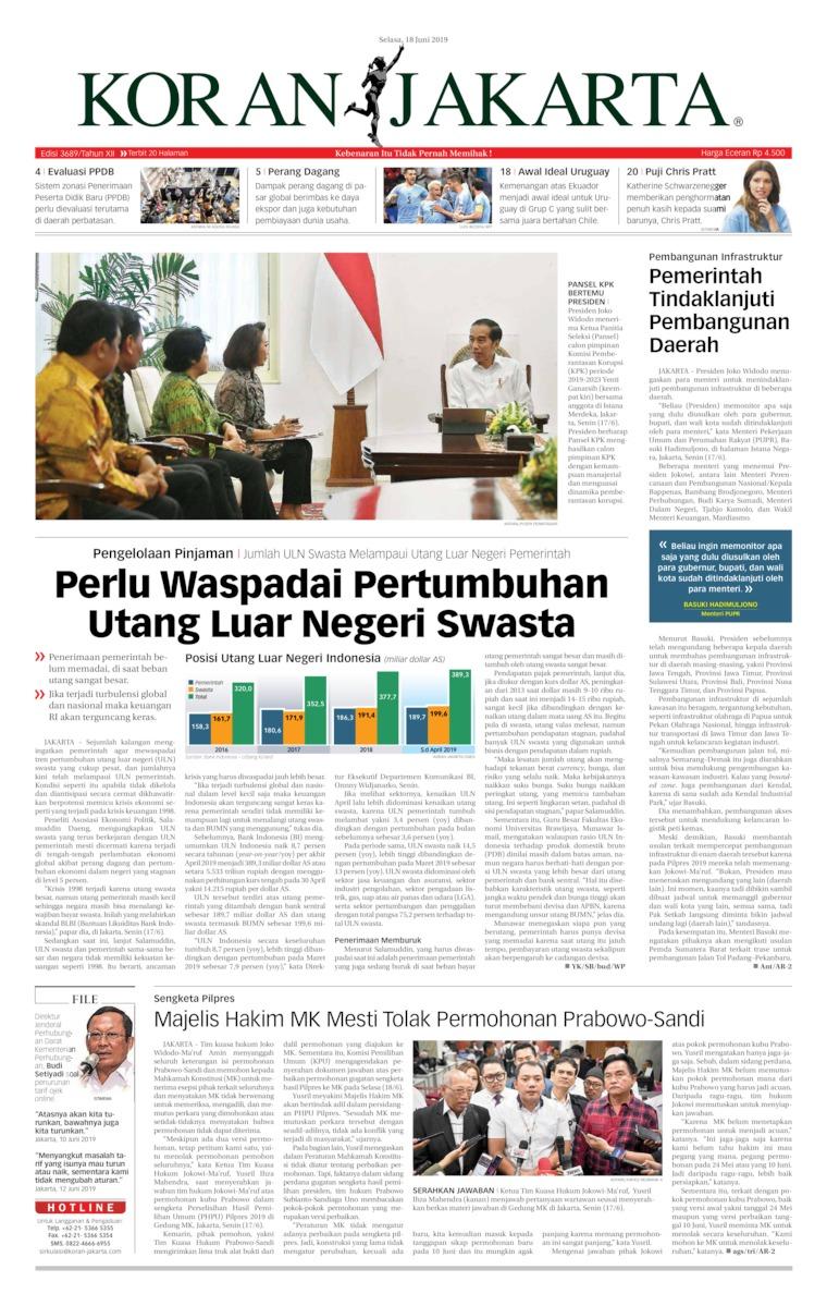 Koran Jakarta Digital Newspaper 18 June 2019