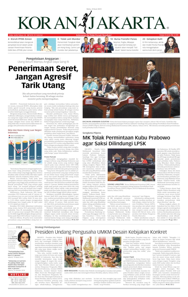Koran Jakarta Digital Newspaper 19 June 2019