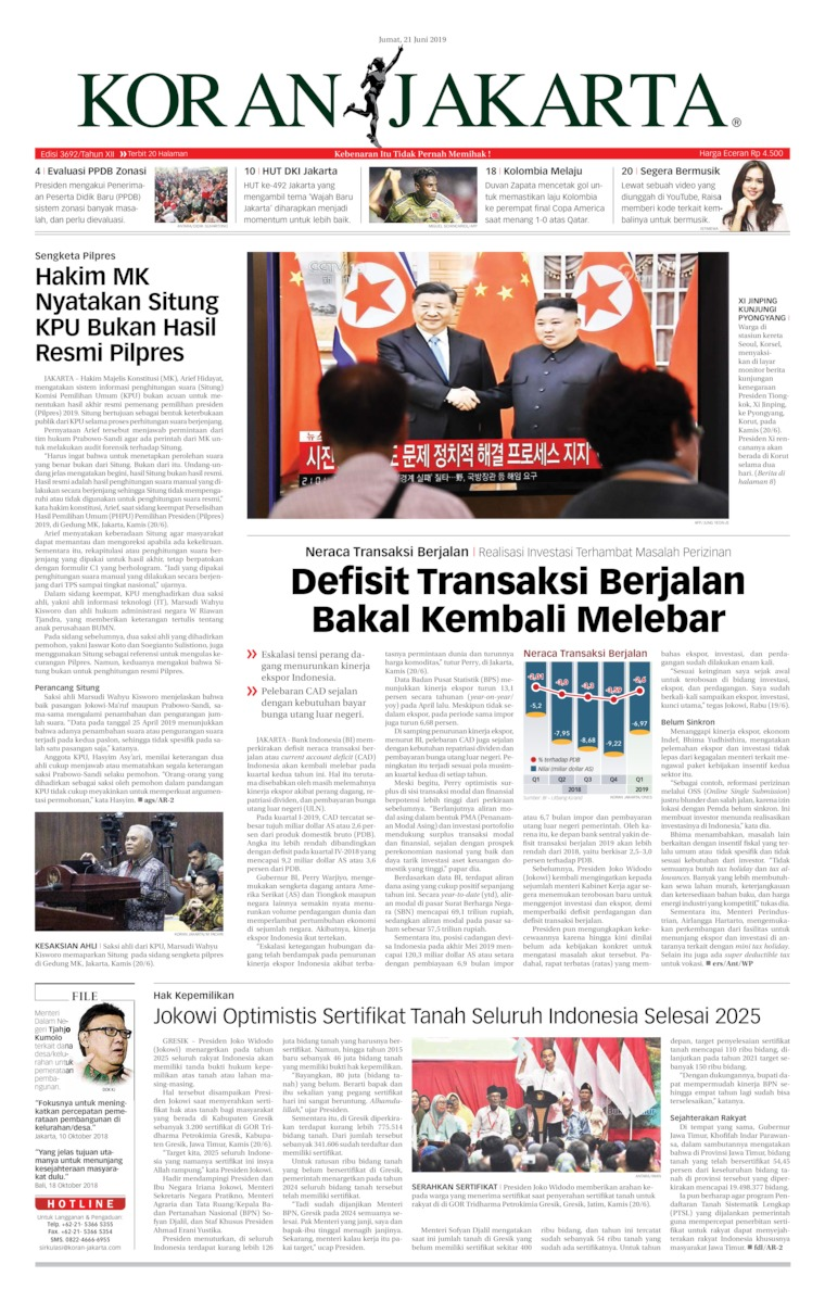 Koran Digital Koran Jakarta 21 Juni 2019