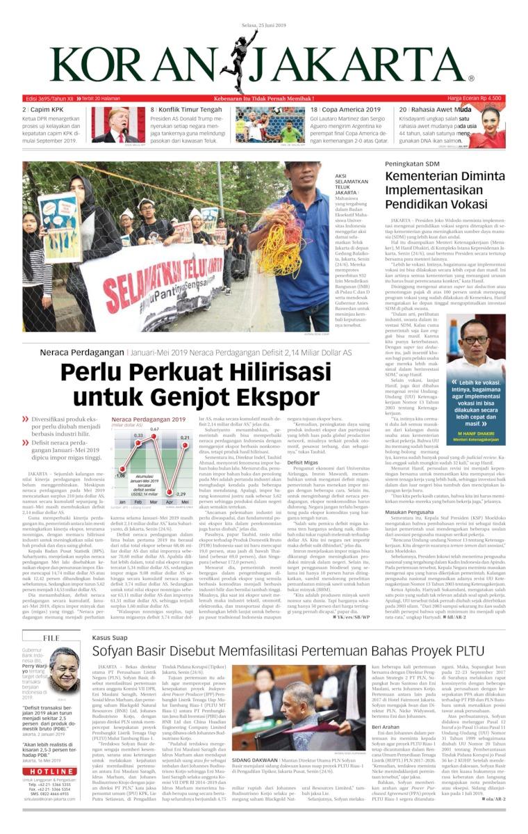 Koran Jakarta Digital Newspaper 25 June 2019