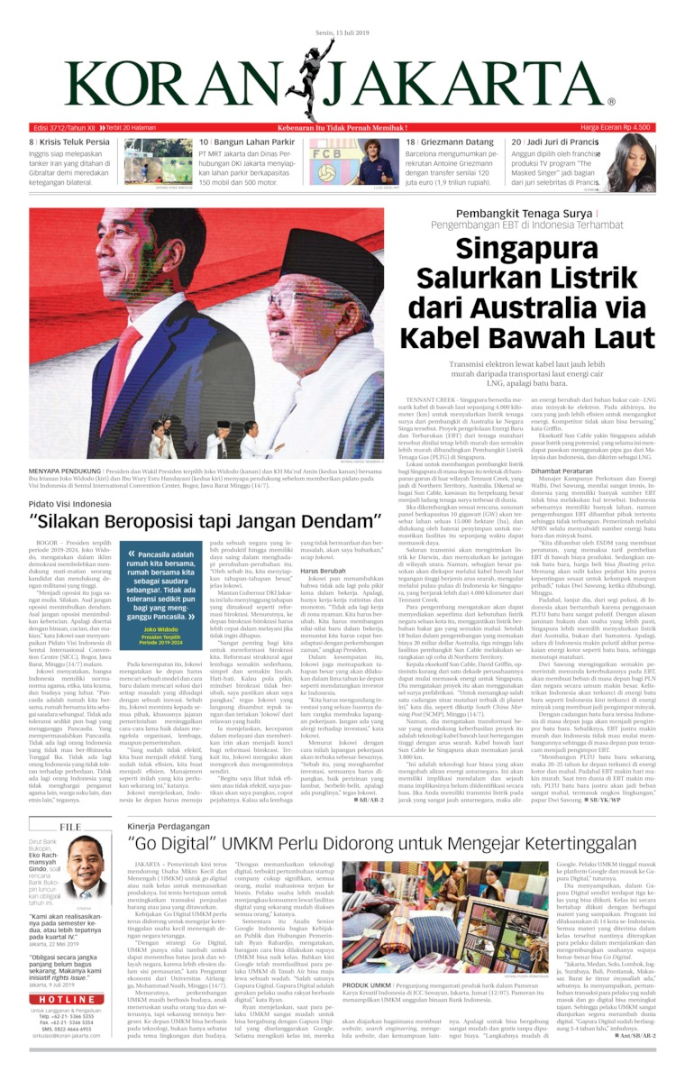 Koran Jakarta Digital Newspaper 15 July 2019