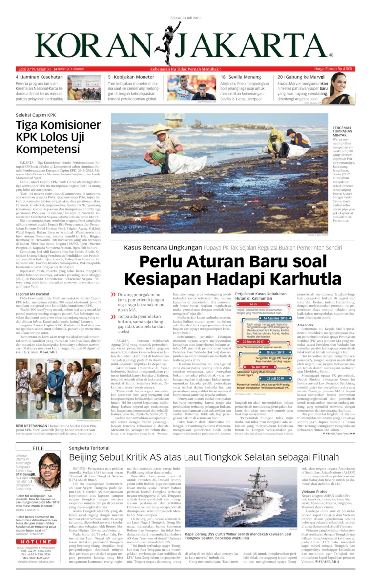 Koran Jakarta Digital Newspaper 23 July 2019