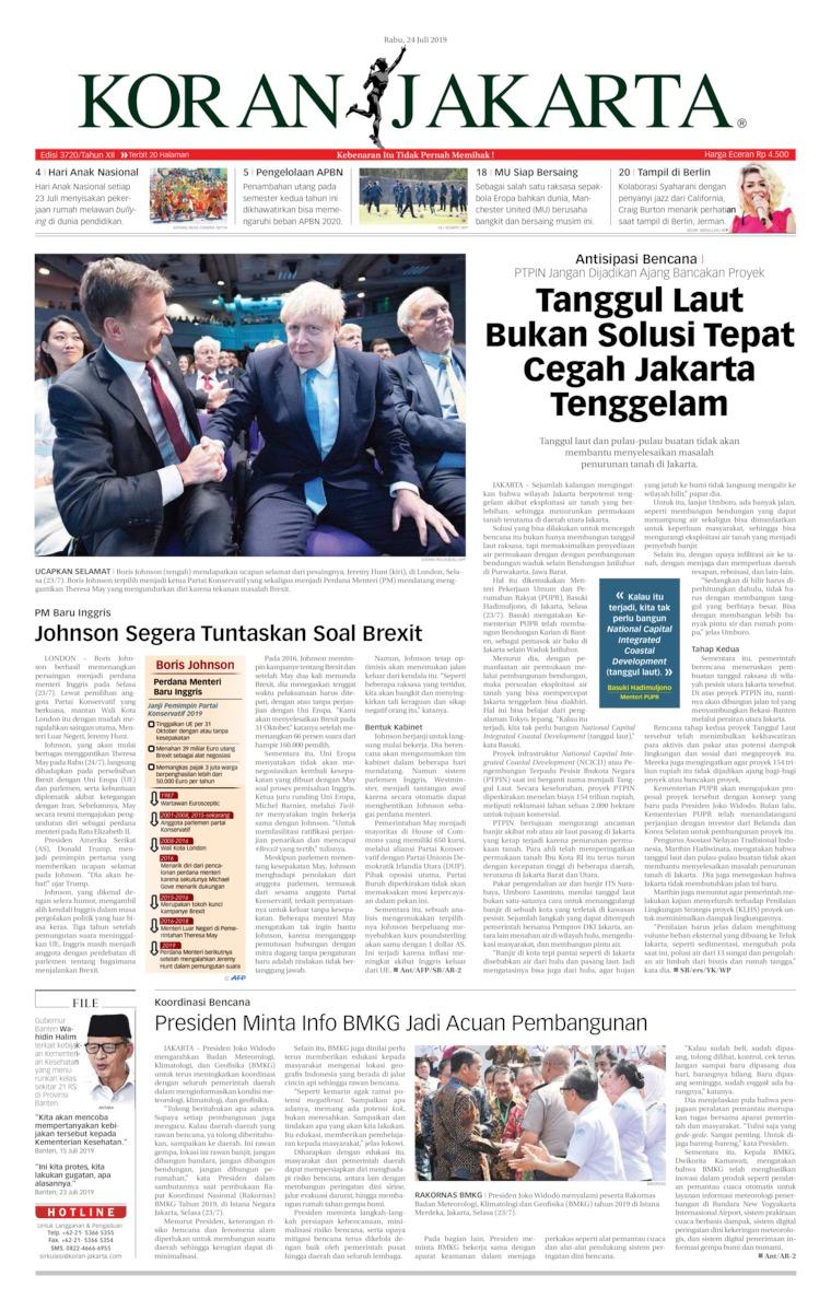 Koran Jakarta Digital Newspaper 24 July 2019