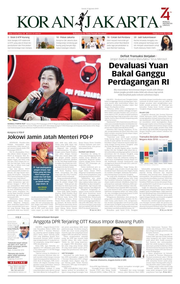 Koran Jakarta Digital Newspaper 09 August 2019