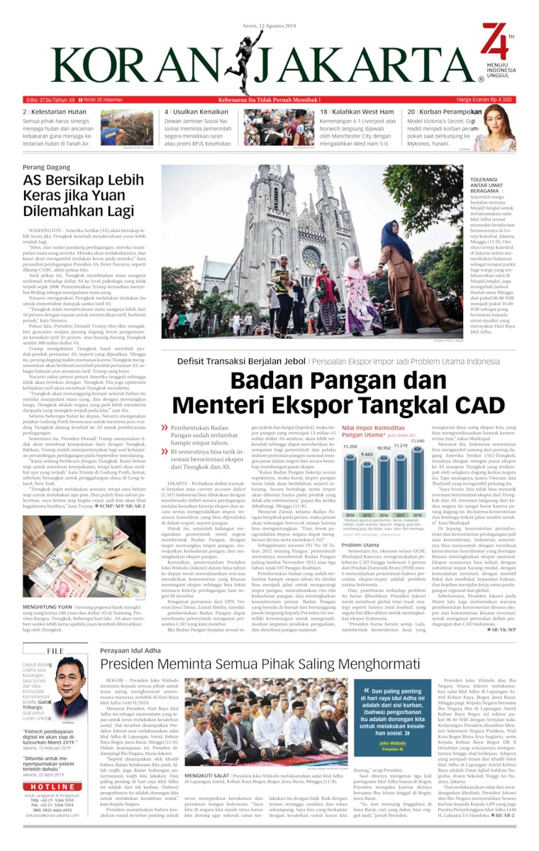 Koran Digital Koran Jakarta 12 Agustus 2019