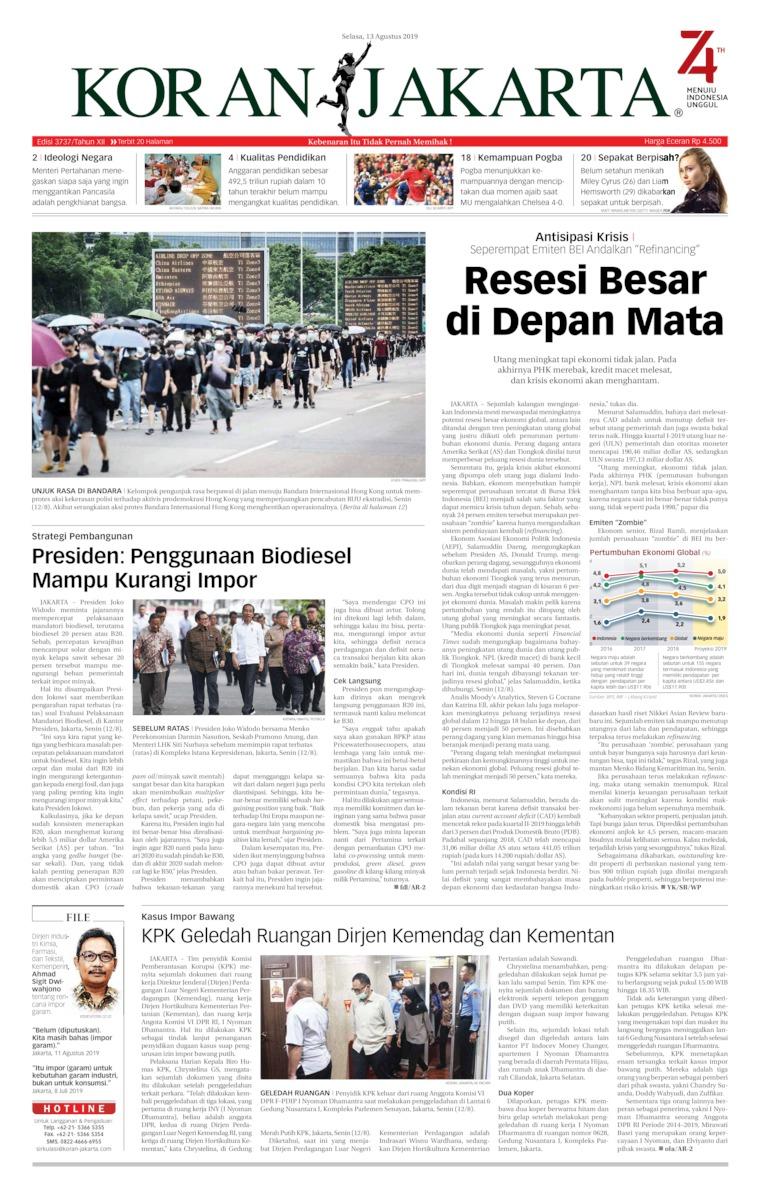 Koran Jakarta Digital Newspaper 13 August 2019