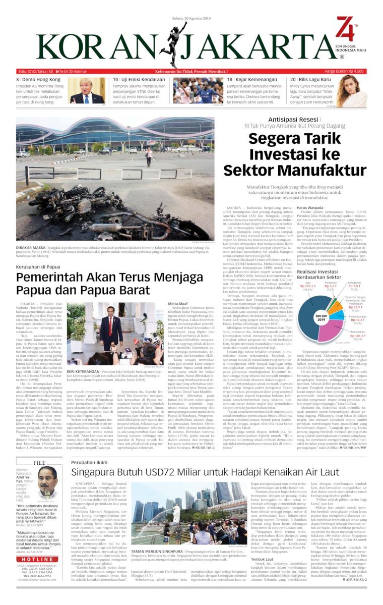 Koran Jakarta Digital Newspaper 20 August 2019