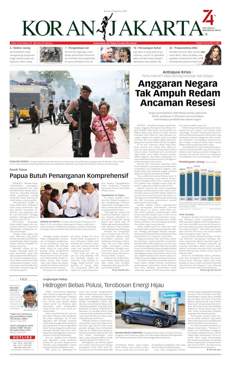 Koran Jakarta Digital Newspaper 22 August 2019
