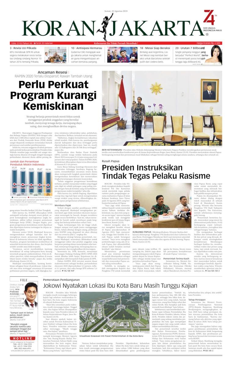 Koran Jakarta Digital Newspaper 23 August 2019