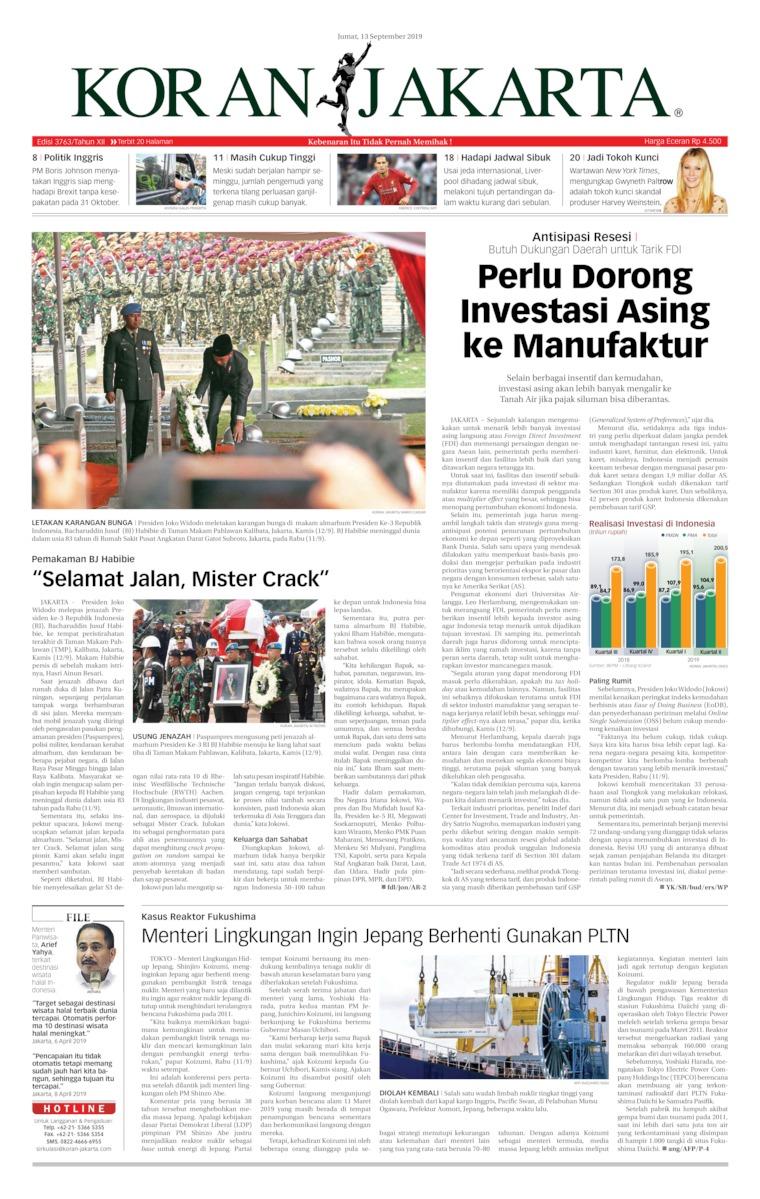 Koran Jakarta Digital Newspaper 13 September 2019