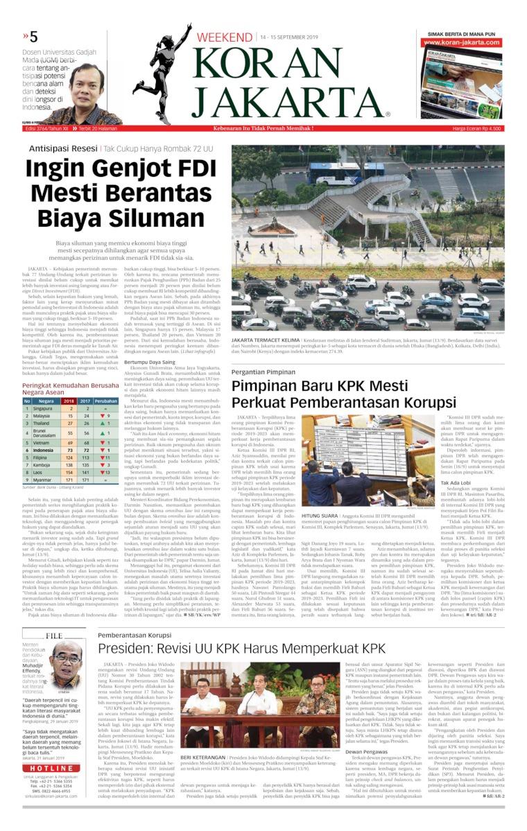 Koran Jakarta Digital Newspaper 14 September 2019