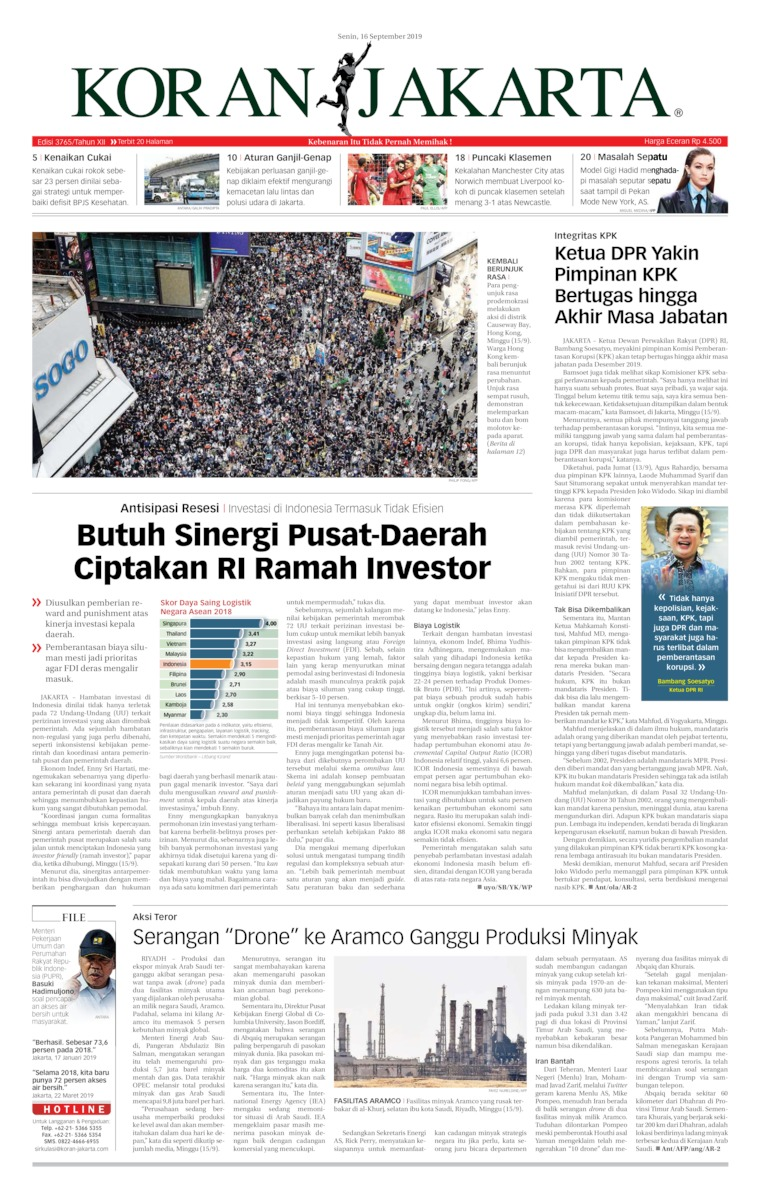 Koran Jakarta Digital Newspaper 16 September 2019