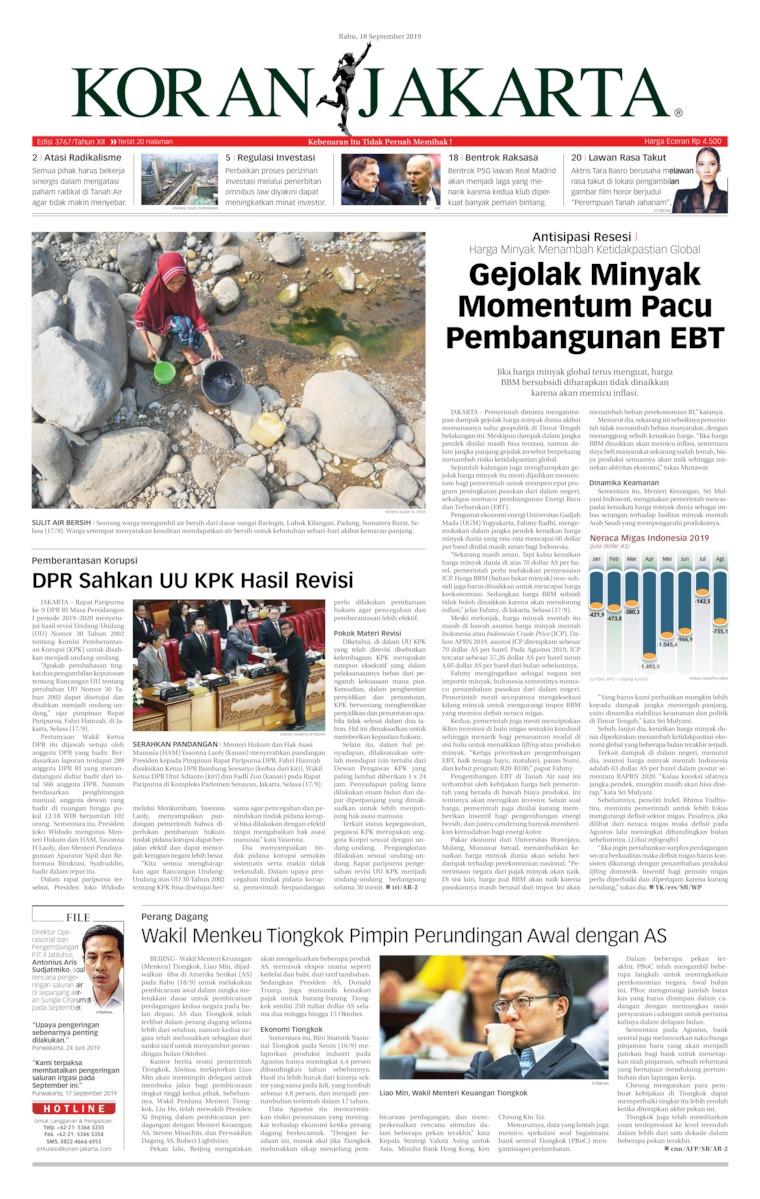 Koran Jakarta Digital Newspaper 18 September 2019