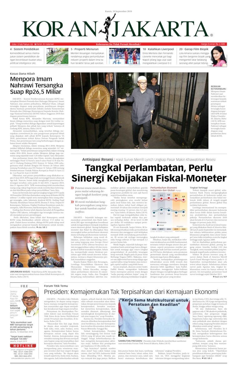Koran Digital Koran Jakarta 19 September 2019