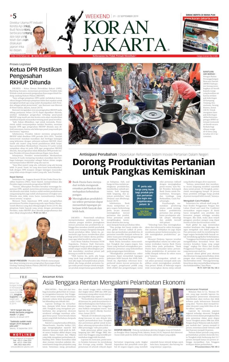 Koran Digital Koran Jakarta 21 September 2019