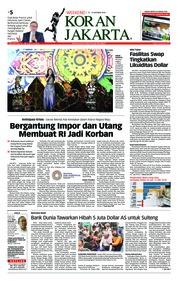 Cover Koran Jakarta 13 Oktober 2018