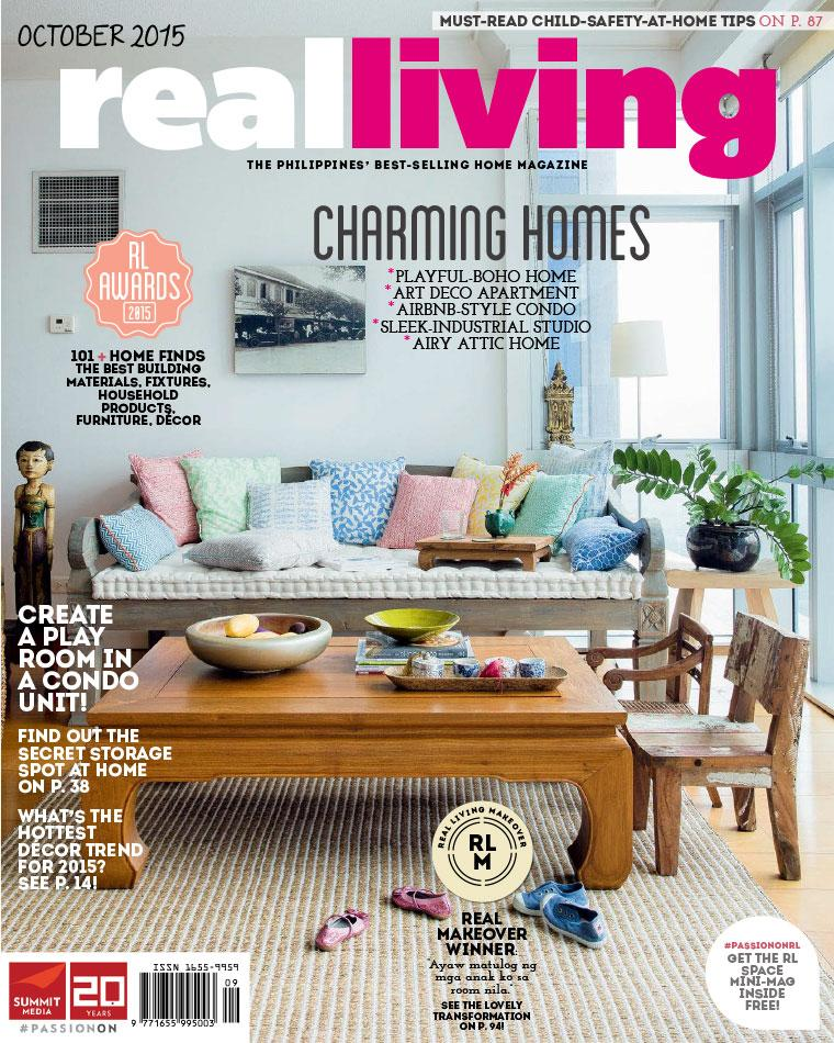 Real living philippines magazine october 2015 gramedia for Home living magazines