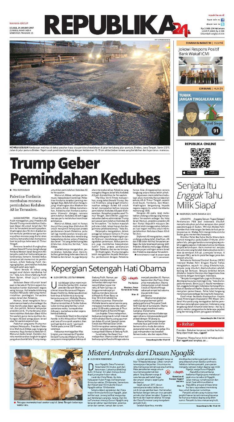Koran Republika Newspaper 24 January 2017 - Gramedia Digital