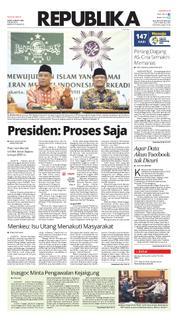 Cover Koran Republika 24 Maret 2018