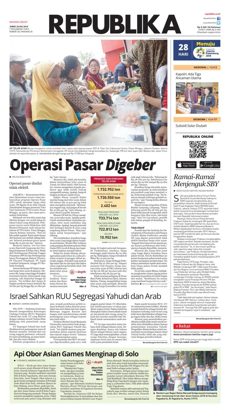 Koran Digital Koran Republika 20 Juli 2018