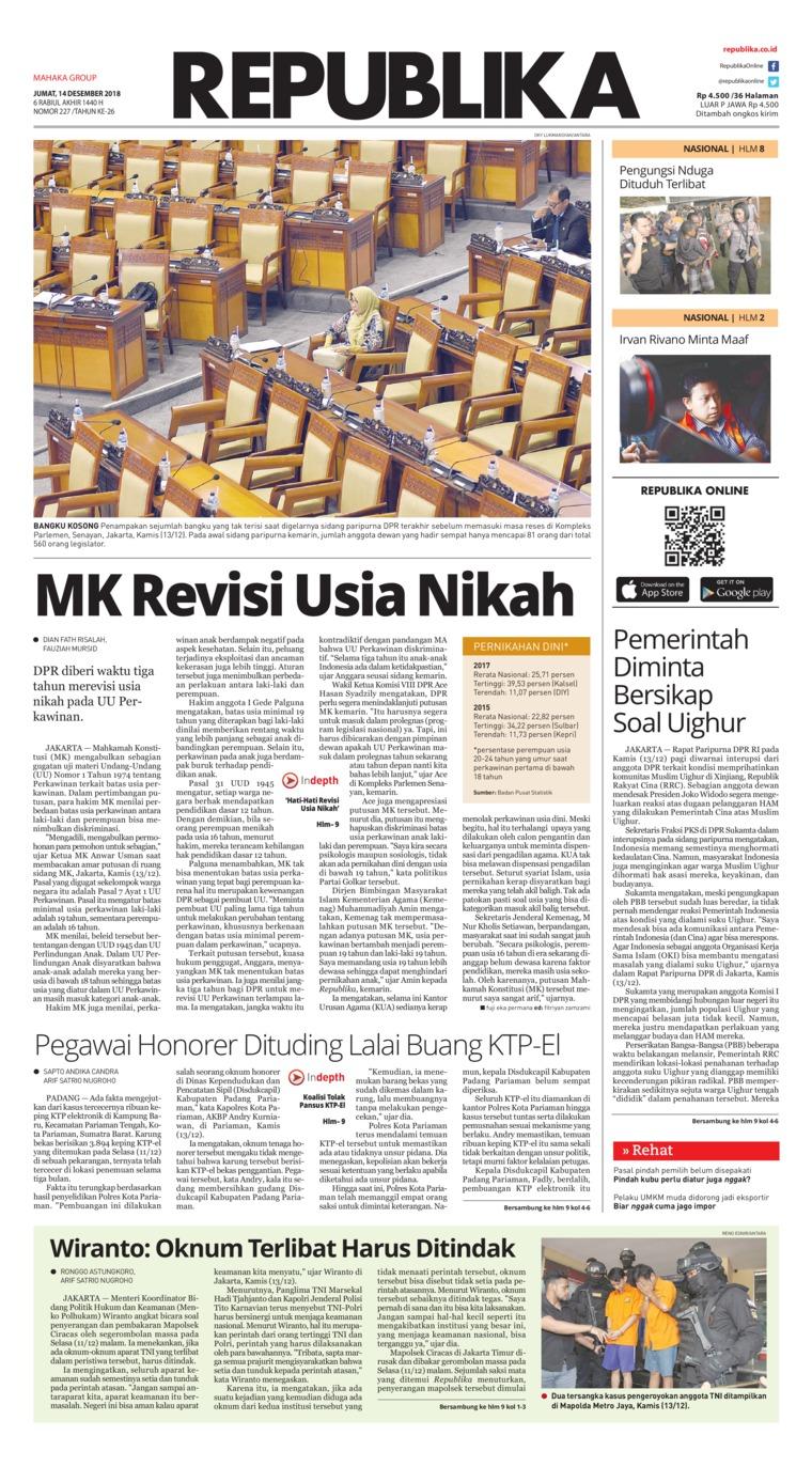 Koran Digital Koran Republika 14 Desember 2018