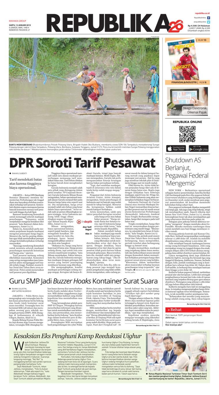 Koran Digital Koran Republika 12 Januari 2019