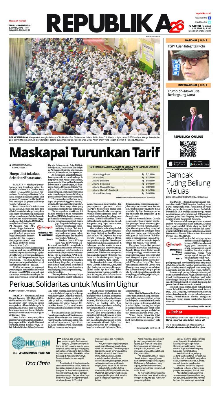 Koran Digital Koran Republika 14 Januari 2019