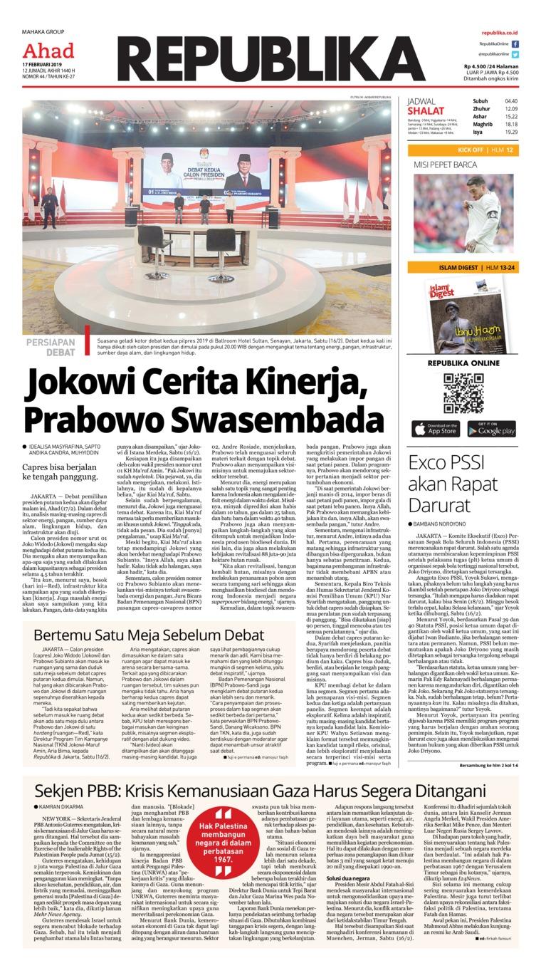 Koran Republika Digital Newspaper 17 February 2019