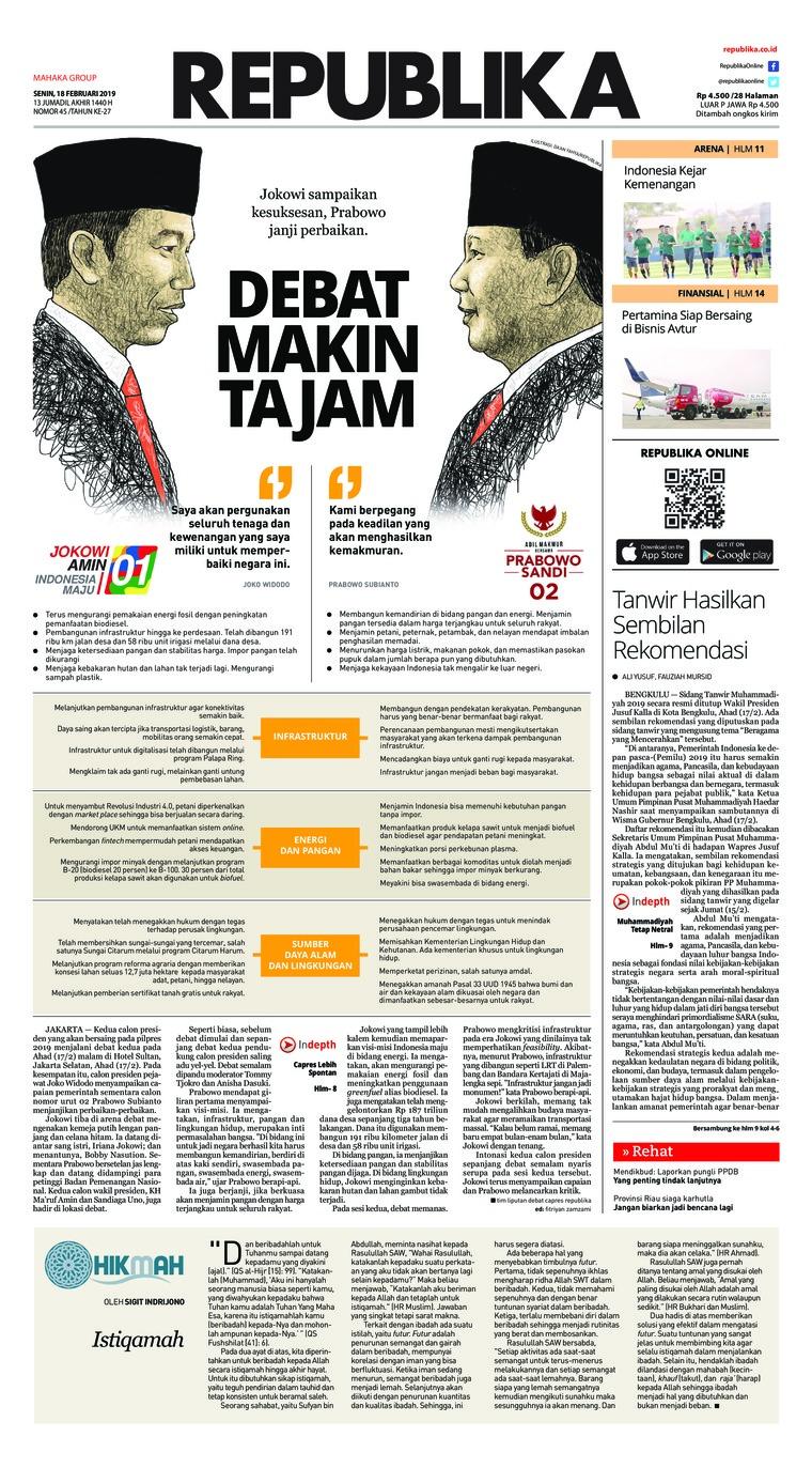 Koran Republika Digital Newspaper 18 February 2019