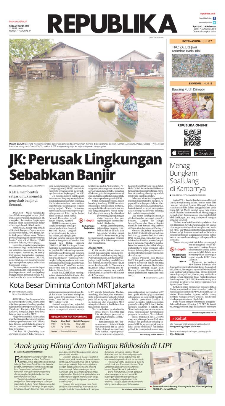 Koran Republika Digital Newspaper 20 March 2019