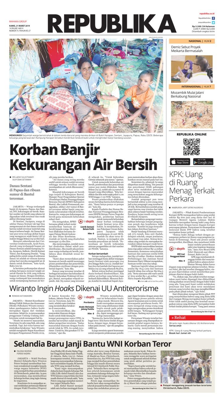 Koran Digital Koran Republika 21 Maret 2019