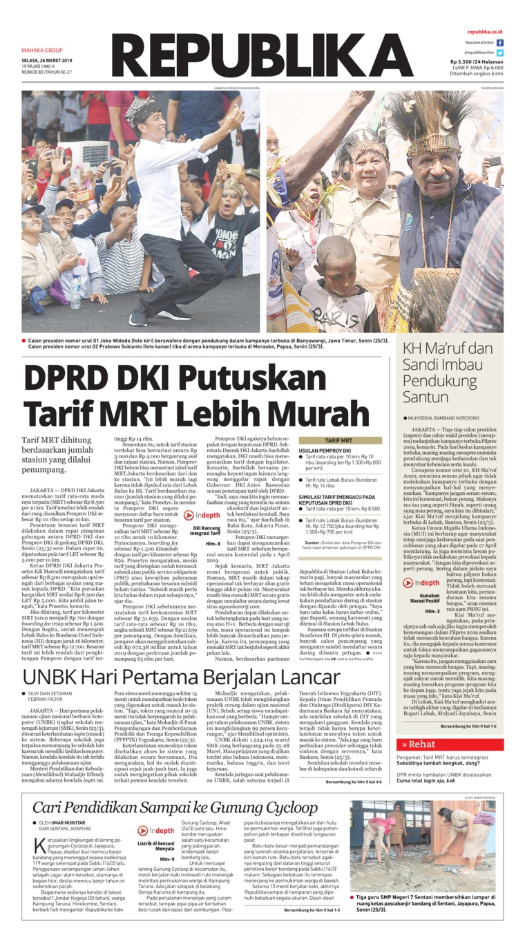 Koran Republika Digital Newspaper 26 March 2019