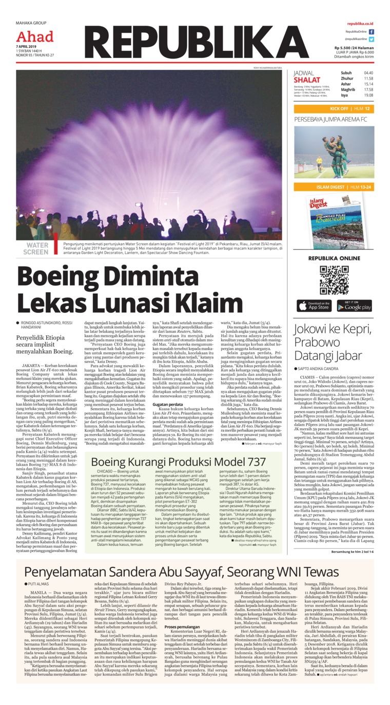 Koran Republika Digital Newspaper 07 April 2019