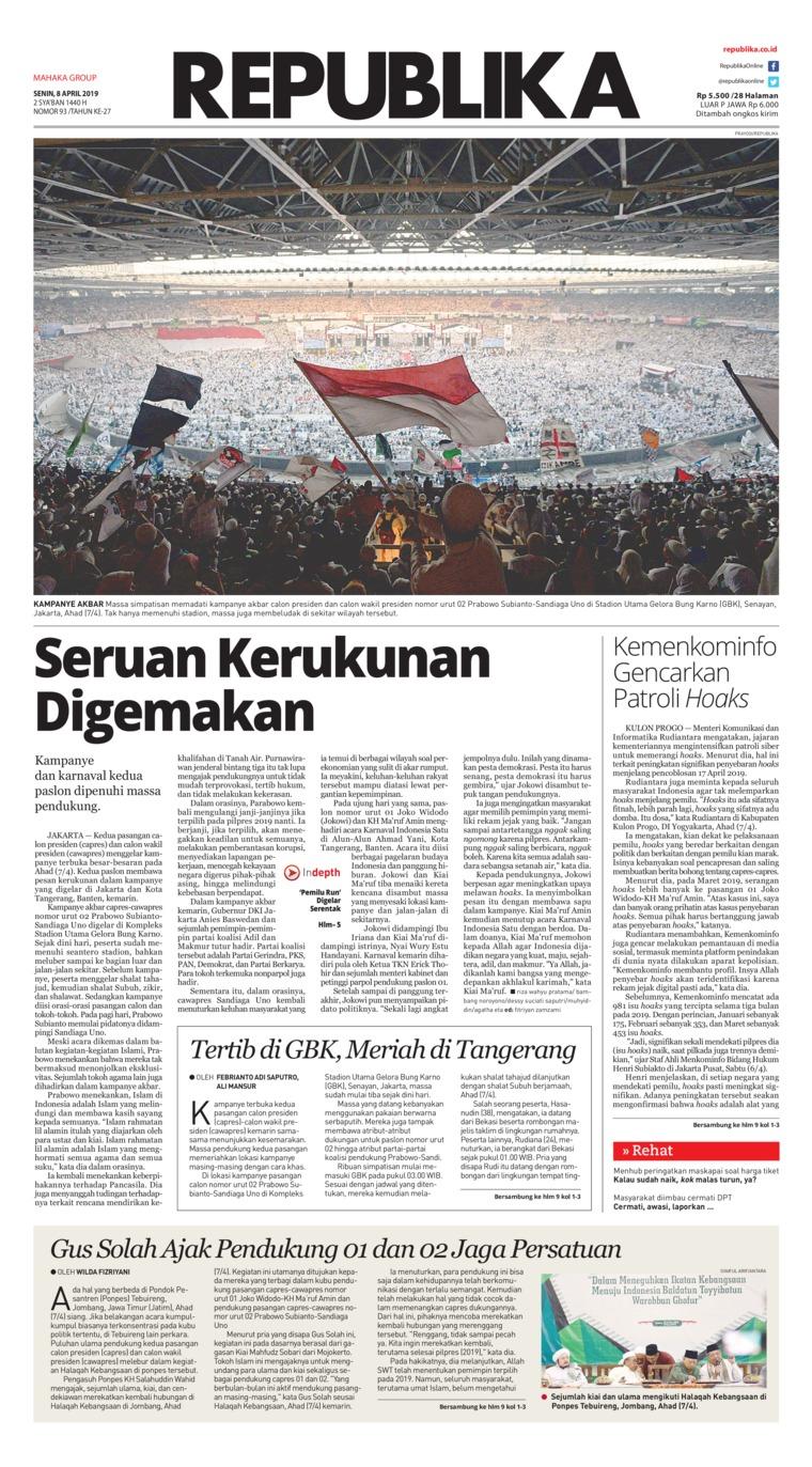 Koran Digital Koran Republika 08 April 2019