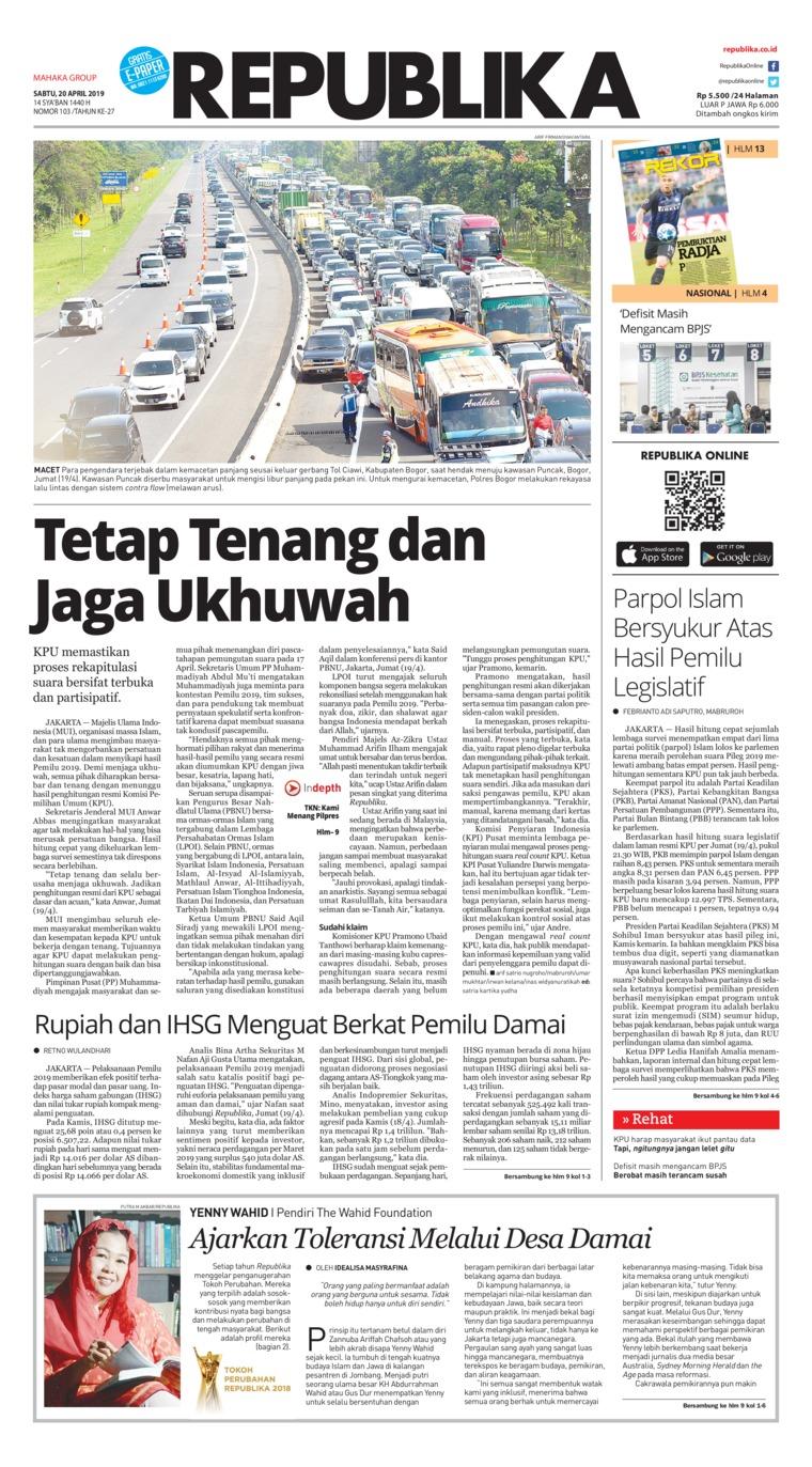 Koran Republika Digital Newspaper 20 April 2019