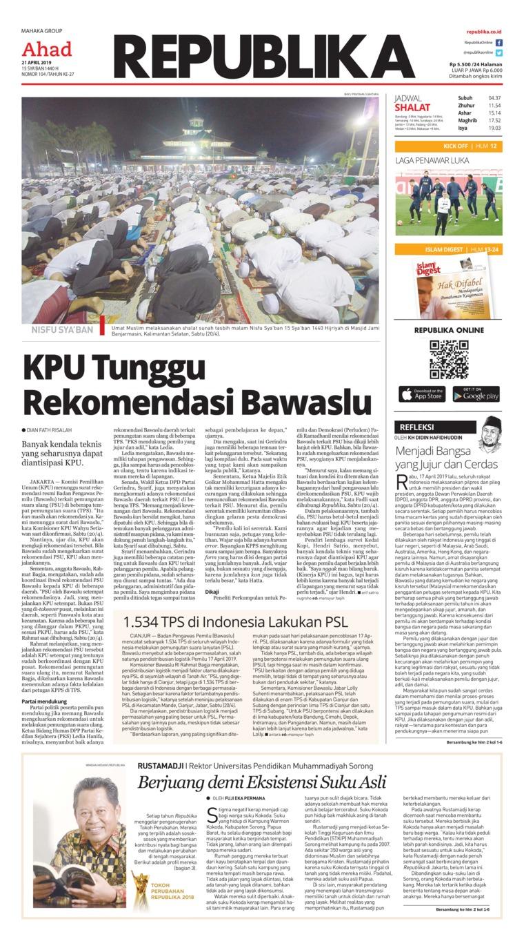 Koran Republika Digital Newspaper 21 April 2019