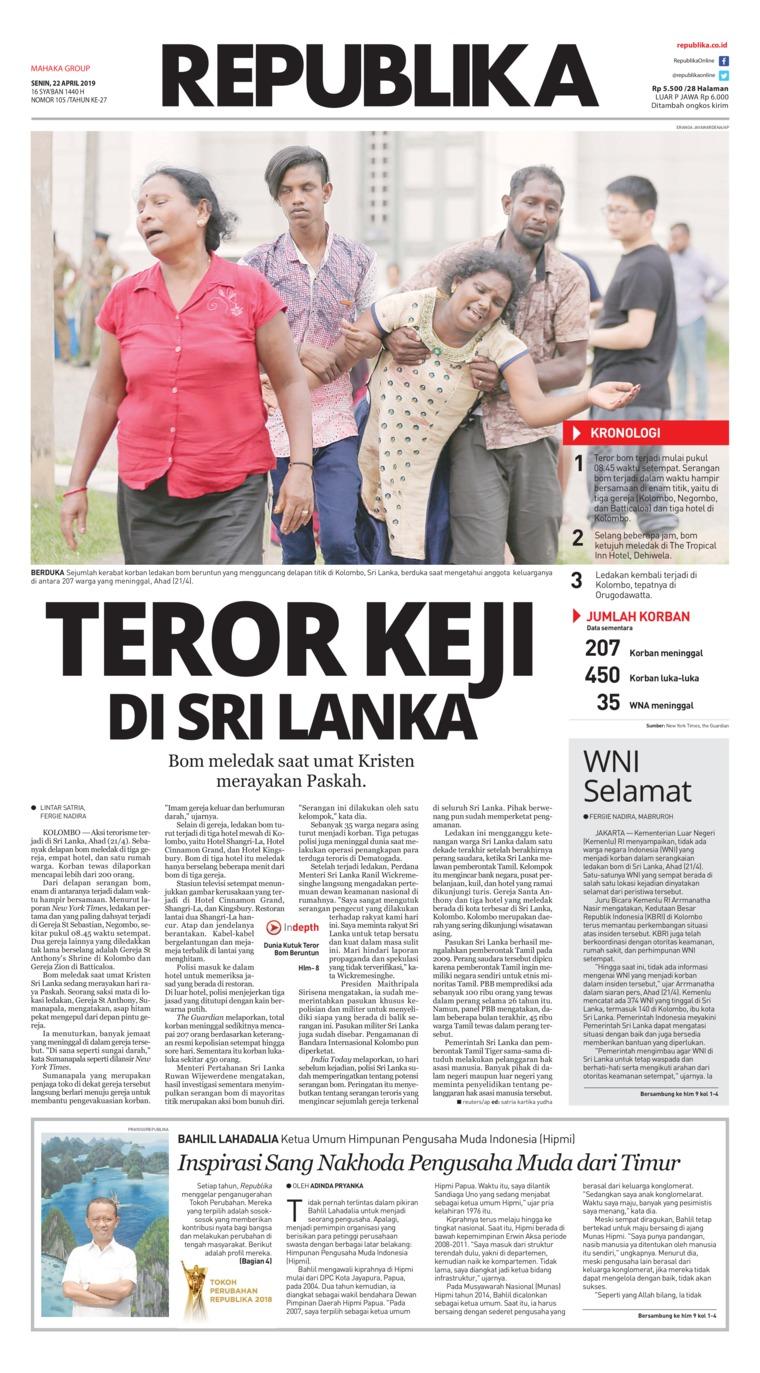 Koran Republika Digital Newspaper 22 April 2019