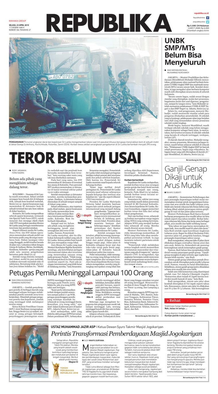 Koran Republika Digital Newspaper 23 April 2019