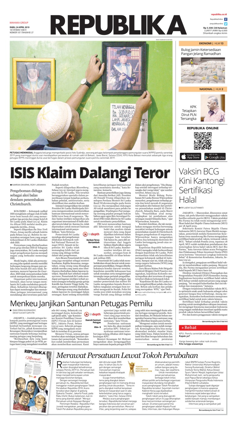 Koran Republika Digital Newspaper 24 April 2019