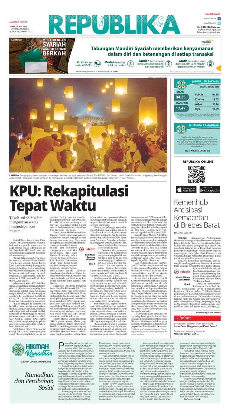 Koran Digital Koran Republika 20 Mei 2019