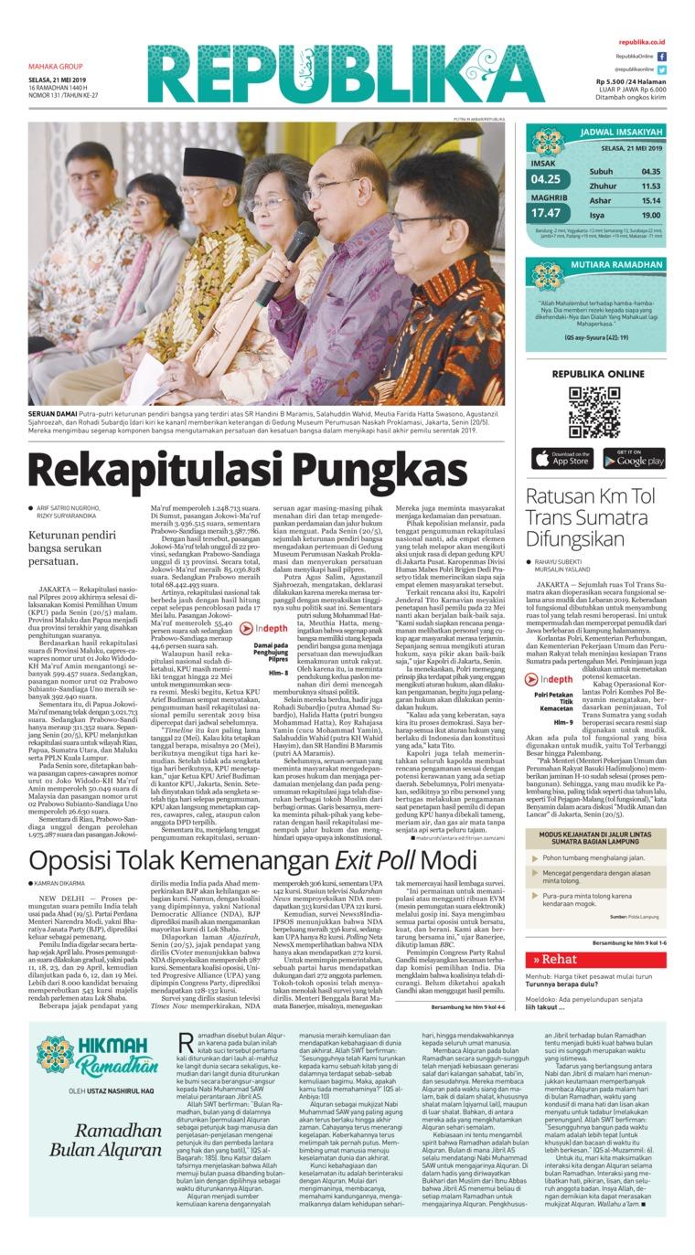 Koran Republika Digital Newspaper 21 May 2019